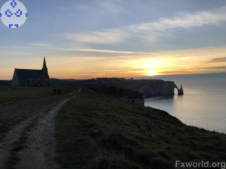church and cliffs at sunset